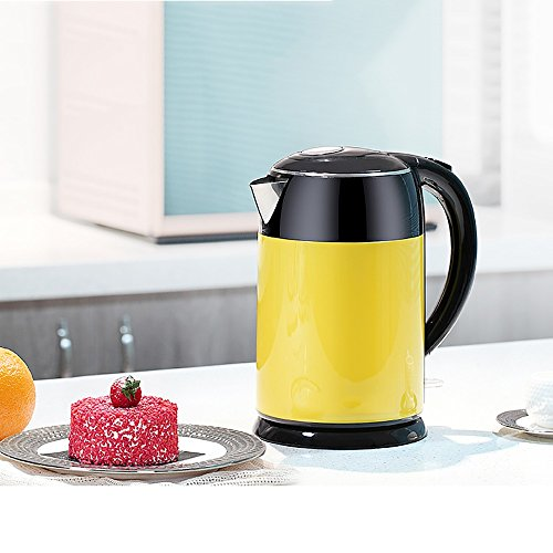 Electric Kettles YANFEI Stainless Steel Home Use Anti-scald Kettle 1.8 Liters Lemon Yellow(size:26*17cm) quick boiling