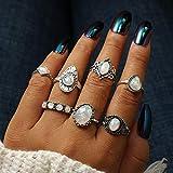 Deniferymakeup multi-elemento opale Band anelli RainDrop Dainty rose Vally dito anelli ovale trasparente con strass (set da 7)