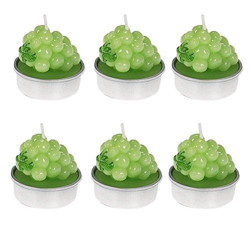 6x chytaii Kerze Mini Form Trauben Fruit Mehrfarbig Dekoration Hochzeit Zeremonie Geburtstag Party grün