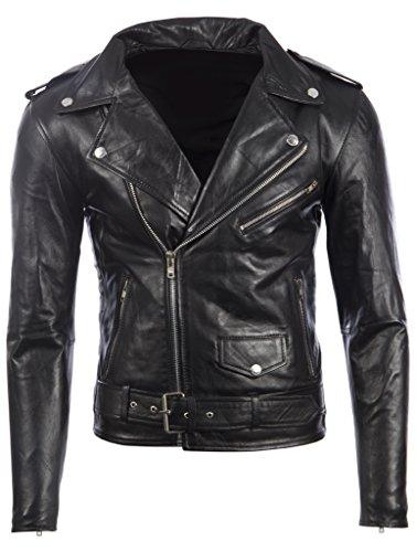 Herren Schwarz Gürtel Bikerjacke in echtem Rindsleder Leder oder super-weichen Schaffell-Leder MDK