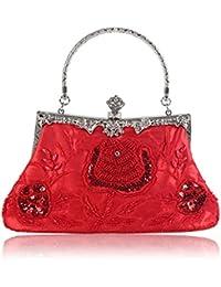 JAGENIE Cartera de Mano para Mujer Rojo Rojo