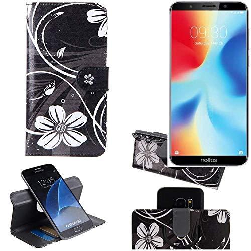 K-S-Trade Schutzhülle für TP-LINK Neffos C9A Hülle 360° Wallet Case Schutz Hülle ''Flowers'' Smartphone Flip Cover Flipstyle Tasche Handyhülle schwarz-weiß 1x
