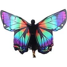 Byjia Rendimiento Profesional Adulto Mariposa Del Arco Iris Grande Danza Del Vientre Ángel Ánix Alas 360 Grados Traje Exótico Completo Flexible Con Los Palillos Escalables 1# Adult