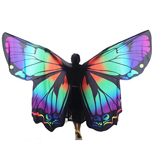 Wgwioo adult professionelle aufführungen rainbow butterfly big belly dance angel isis wings 360 grad flexibles volles exotisches kostüm mit skalierbaren sticks , 1# , (Skirt Feather Kostüm Tanzen)