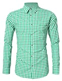KoJooin Trachten Herren Hemd Trachtenhemd Langarmhemd Freizeithemd Baumwolle - für Oktoberfest, Business, Freizeit (XL / 40, Grün)