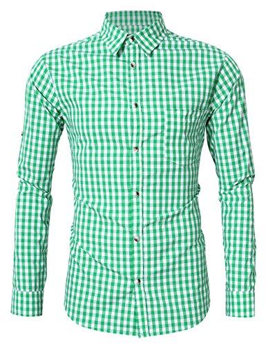 KoJooin Trachten Herren Hemd Trachtenhemd Langarmhemd Freizeithemd Baumwolle - für Oktoberfest, Business, Freizeit (XXL / 42, Grün)