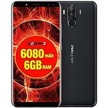 Ulefone Power 3 - 6.0 pulgadas FHD (relación 18: 9) Corning Gorilla Glass 4 Android Smartphone, Octa Core 2.0GHz 6GB + 64GB, Reconocimiento facial, Cámaras cuádruples Batería 6080mAh - Negro