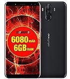 Ulefone Power 3 - 6,0 Zoll FHD (18: 9 Verhältnis) Corning Gorilla Glas 4 Bildschirm Android Smartphone, Octa Core 2.0GHz 6GB + 64GB, HIFI Gesichtserkennung, Quad-Kameras 6080mAh Batterie - Schwarz