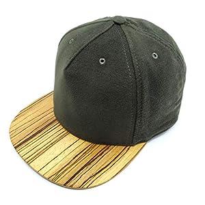5 Panel Cap,Hat, Snapback, Kappe, Zebrano Holz/Wood Brim, Jagdgrün size M/L