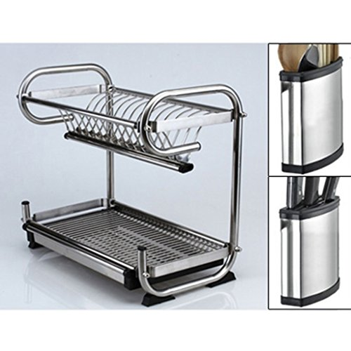 Küchenregale Organizer ZXLDP Drain Bowl Dish Rack Edelstahl Double Layer Küche Racks Wand Hängende Geschirr Lagerung Rack Style Optional (Farbe : Style 4)