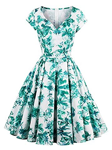 Sisjuly Green Cap Sleeve Knot Women's Vintage Day Dress