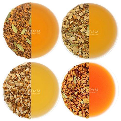 VAHDAM, 4 CAMPIONI DI TETTE ALLO TURMERICO, 40 tazze di tè assortiti Miscela di tisane - Tè allo zenzero curcuma, spezie di agrumi, Tè di spezie alla curcuma, Tè allo zafferano di curcuma - Pacchetto di varietà di tè alle erbe, Set regalo di campionatore di tè