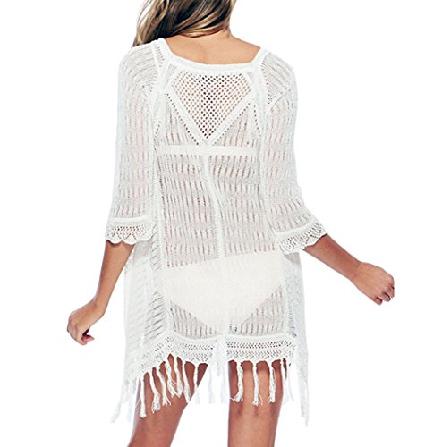 Y&L Donne Hollow Out Bikini Coprire Uncinetto Estate Abito Spiaggia Costumi Da Bagno Bianco
