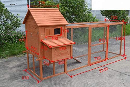 Hühnerstall / Hühnerhaus mit Freigehege aus Holz ca. 310 x 150 x 150 cm - 8