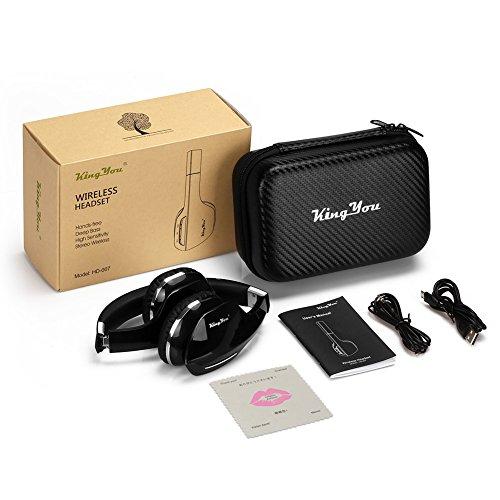Kingyou Bluetooth Kopfhörer Funk Für Fernseher On Ear Kopfhoerer Kabellos (HD007 Schwarz) - 7