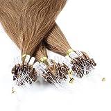 hair2heart 50 x Microring Loop Extensions aus Echthaar, 40cm, 1g Strähnen, glatt - Farbe 8 hellbraun