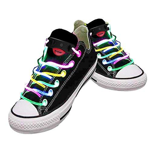 Wasserdichte LED-Schnürsenkel in verschiedenen Farben: grün, rot, gelb, orange, blau, pink, gelb/grün, blau/pink, grün/pink, mehrfarbig, hochwertig mehrfarbig
