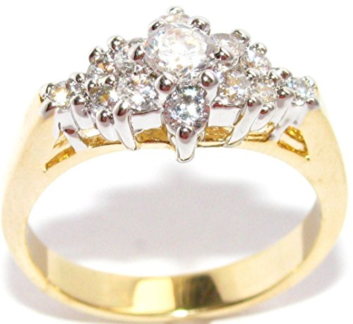 Ah! Jewellery Gorgeous And Glamorous! 0.40ct Two Tone Lab Created Diamonds Ring. 3.75mm Centre Stone. 3.5gr Total Weight. Fantastic Quality. c5MRY