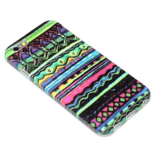 "deinPhone Apple iPhone 6 6S (4.7"") SILIKON CASE Hülle deinPhone Eule Zick Zack Muster Bunt"