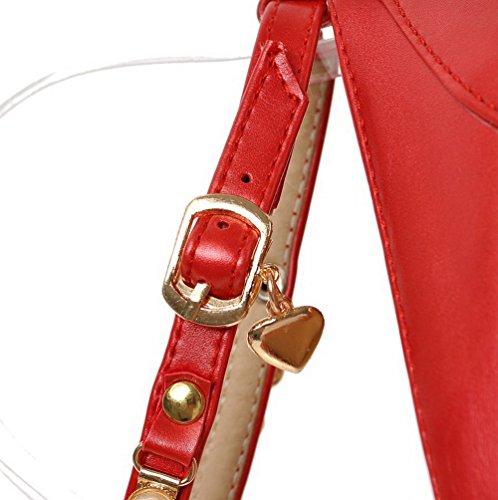 AgooLar Femme Pu Cuir Mosaïque Boucle à Talon Haut Rond Chaussures Légeres Rouge
