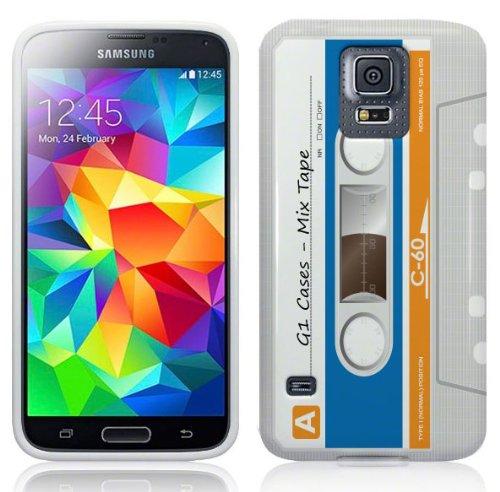 Samsung Galaxy S5 Hülle Silikonhülle (TPU) Case Cover - Kassetten Muster Schutzhülle für Samsung Galaxy S5 Weiß
