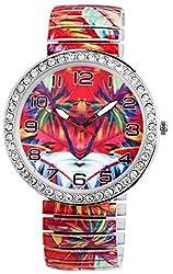 DONNA KELLY Damenuhr Rot Weiß Blau Strass Palmen Urlaub Karibik Insel Holiday Crystal Analog Quarz Metall Modisch Zugband Arabische Ziffern Armbanduhr