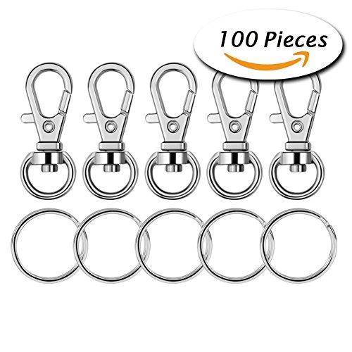 Preisvergleich Produktbild Paxcoo 100 Stk. Metall Schwenker Schlüsselband mit Schlüsselringen (kleine Größe)