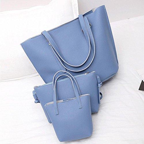 Borsa A Tracolla In Pelle Pu Zarupeng Stile Donna + Borsa + Portafoglio 3 Pezzi Blu
