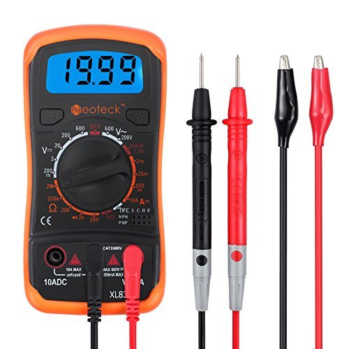 Neoteck MultÍmetro Digital Multi Tester Voltímetro Amperímetro Ohmímetro AC/DC Diodos de Resistencia Transistor Audible Continuidad Probador con retroiluminación LCD para Fábrica de Laboratorio