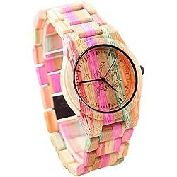 Reloj de Madera, TOPQSC Reloj de Pulsera Natural Colorido de Bambú ,Reloj de Cuarzo Analógico Super Ligero, 100% Hecho a mano, Reloj de Madera para Mujeres chicas