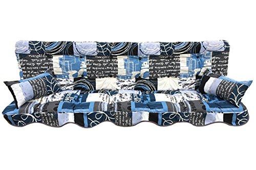 Polsterauflage Hollywoodschaukelauflage Modell 933 modernes Design blau-weiß-anthrazit (180 x 50 cm Hollywoodschaukelauflage)