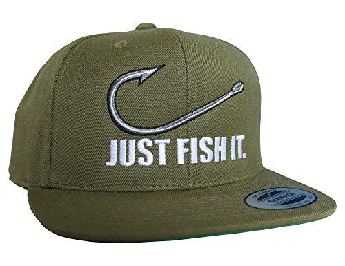 Baddery Angler Hut: Just Fish It - Geschenk für Angler - Angelbekleidung - Cap für Angler - Anglermütze - Angler Kappe - Angler Mütze - Classic Snapback von Flexfit (One Size) -