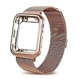 Sueeing Apple Watch Band mit Fall 38mm 42mm, Edelstahl Mesh Milanaise Schlaufe mit Verstellbarem Magnetverschluss Ersatz-Armband iWatch Band für für Apple Watch Serie 321