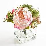 Künstlicher Strauß aus Pfingstrose, Schleierkraut und Blättern im Glas, rosa-weiß, 16cm, Ø14,5cm - Deko Kunstblumen / Kunst Blumenstrauß - artplants