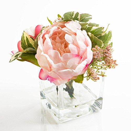 Ramo con rosas y Paniculata artificial en recipiente de cristal, rosa y blanco, 16cm, Ø14,5cm - centro artificial / arreglo floral / flor sintética - artplants