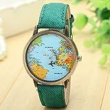 Longra globalen Reise durch Ebene Karte Frau Kleid Uhr Denim Stoff Band (Grün) -