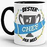 Tassendruck Kaffee-Tasse Bester Chef Innen & Henkel Schwarz/Lustig/Fun/Mug/Cup/Geschenk/Beste Qualität - 25 Jahre Erfahrung