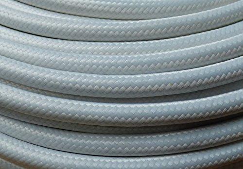 Preisvergleich Produktbild 5m Stoffkabel weiß 3-adriges Textilkabel Baumwolle umsponnen Lampenkabel Leuchtenkabel