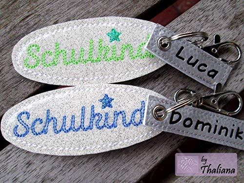 SCHULKIND mit NAMEN personalisierbarer Schlüsselanhänger/Taschenanhänger für Schulranzen Schultüte zur Einschulung