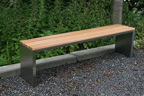 Gartenbank / Parkbank BxTxH: 200x30x40cm, Edelstahl (Sitzbank für Wohnraum, Bank mit Echt-Holz, Gartenmöbel, Holzbank, Parkbank) (Marke: Szagato)
