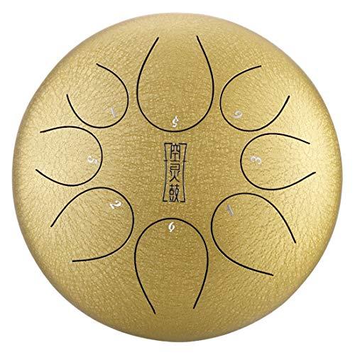 12-Zoll-Stahlzunge Drum 8 Hinweise, Panzer Drum Chakra Drum, Percussion Drum-Instrument für Musikerziehung Konzert Geist Healing Yoga Meditation,E
