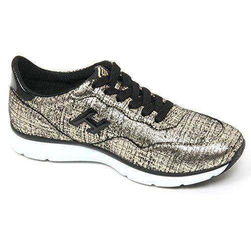 B9368 sneaker donna HOGAN H254 TRADITIONAL 20 15 scarpa nero/oro shoe woman Nero/Oro