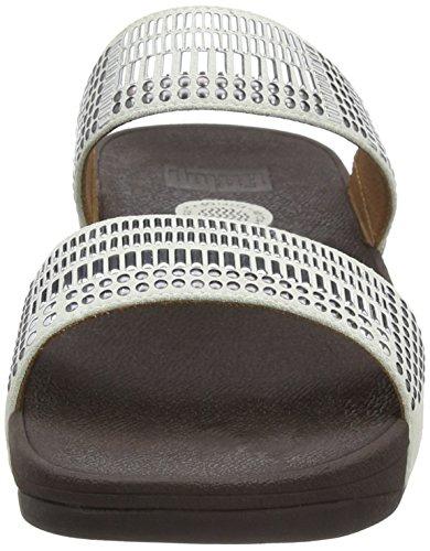 FitFlop Damen Aztek Chada Slide Offene Sandalen mit Keilabsatz Off-White (Urban White)