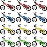 Gejoy 12 Pièces de Vélo Doigt Mini Sports Extrêmes Vélo Doigt Miniature Jouets en Métal pour Le Jeu Créatif Cadeaux de Faveurs de Fête