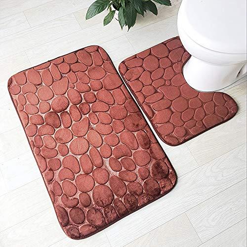 FKIHK Badezimmermatte 3D Geprägte 2 stücke Badematten Set rutschfeste Fußmatten Wc Teppiche Saugfähigen Duschraum Memory Foam Matratzen, b -