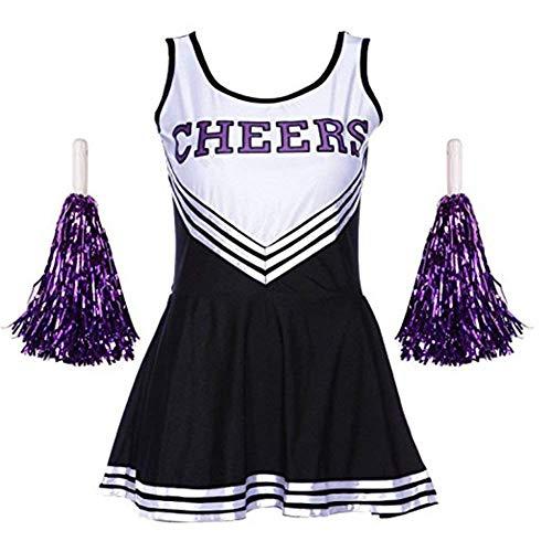 rleader Kostüm Dame Halloween Kostüm Kleid Cheerleading Bekleidung mit 2 Pompoms (schwarz, 2XL) ()