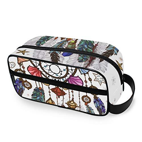 LZXO Bolsa de cosméticos colgante con plumas de atrapasueños Boho de viaje, bolsa de aseo con cremallera, bolsa de maquillaje profesional, portátil, bolsa de belleza para hombres, mujeres y niños.