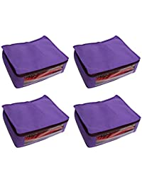 Zadmus Large Non-Woven Saree/Garment Bag - Combo Pack of 4, Purple