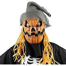 LUOEM Espeluznante novedad fiesta de disfraces de Halloween accesorios de calabaza de látex espantapájaros cabeza máscara