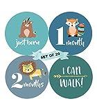 Baby Monatliche Milestone Aufkleber (20Stück)–Geburt bis 12Monate + 7BONUS Achievement Aufkleber